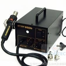 Atten 850B  Hot Air Soldering Station, digital, ESD, 280W  Hot-air rework station for professionals and hobbyists in need of tight temperature tolerances and large air flows. This unit displays a digital readout of actual air flow temperature. Air flow rate up to 23L per minute from built in air pump. This very powerful unit can be used for multiple applications including standard SMD reflow/repair/removal, thermal IC stress testing, thermoplastic welding, and shrink-wrapping.