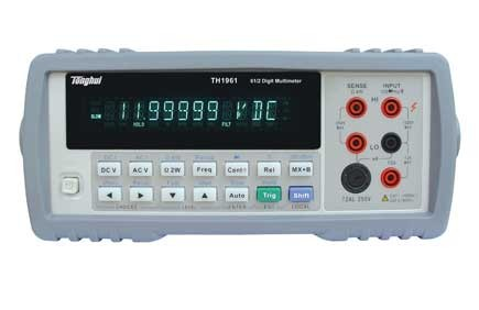 TH1961  6 1/2-digit true-RMS digital multimeter  The TH1961 is a high speed、high accuracy , 1,200,000 counts meter that meets the measurement needs of voltage、current and resistor. Its outstanding performances, such as high Reading Rate ( Max . 40 Readings/ Second ) ,and DC Voltage measurement accuracy up to 0.0035%, provides an ideal cost-effective option for customer.
