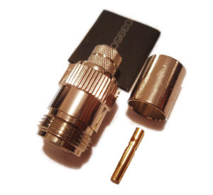 N type Crimp Socket  Connector  for Cable   LMR400 RG213  50 ohm Specification:Frequency range:.......DC-6 GHzWorking voltage: .......500V dc or AC peakProof Voltage: ..........1500V dc or AC peakVSWR: .................. 1.07+ 0.01Frequency in GHzTemp: ......................-55 - +100 degree