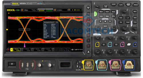 Rigol  MSO8104  1GHz, 10Gs/S, 4-Channels, 16CH LOGIC Mixed Signal Oscilloscope High quality 4 channel oscilloscope with 1GHz Bandwidth, 10 GSa/s sample rate, 500 Mpts memory depth and a 25.7 cm touchdisplay 1024x600 pixel. Upgradable to a MSO with a 16 channel logic analyzer, 2 channel waveform generator.