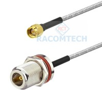 N Bulkhead Socket to SMA male RG402 Semi Rigid / Flexible Cable RoHS 1